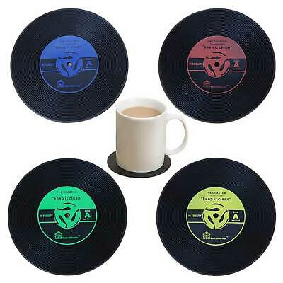 Vintage Silicon Record CD Coasters Groovy Disk Table Bar Drinks Cup Mats Pad New