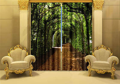 Green Corridor Path 3D Customize Blockout Photo Curtains Print Home Window Decor