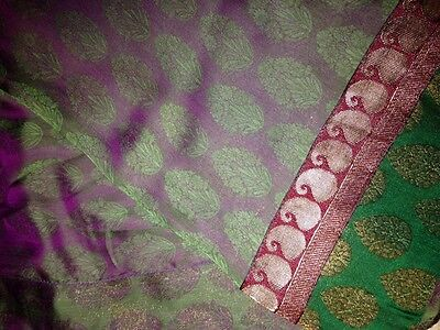 Green & Purple sari with blouse