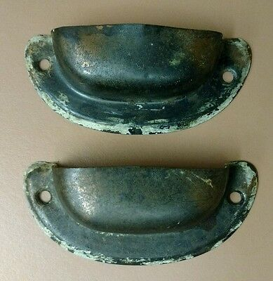 Lot of 2 Vintage Copper Flash Plated Drawer Pulls Cup Finger Style