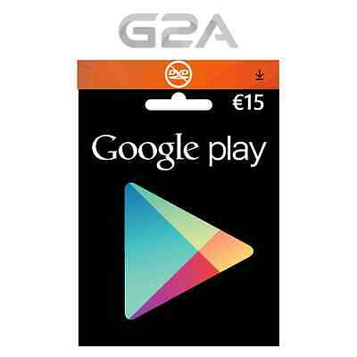 Google Play Store Boutique CARTE CARD CRÉDIT 15 € Euro Key code coupon €15