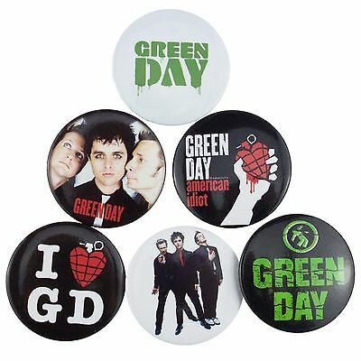 6 x 38mm Green Day American Idiot Button Badge Set New Official Band Merch