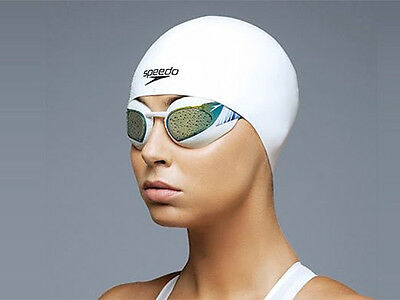 WHITE SPEEDO LATEX SWIM CAP LONGLIFE MOULDED SILICONE SWIMMING junior CHILDS NEW
