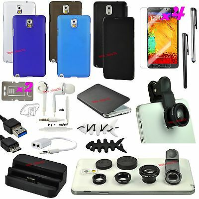 20 PCS Case Cover Charger Fish Eye Earphones Bundle For Samsung Galaxy Note 3