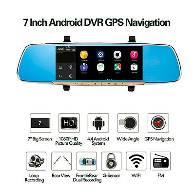 """7"""" Touch Screen Car Rearview Mirror Monitor & GPS DVR FM Transmitter Quad Core"""