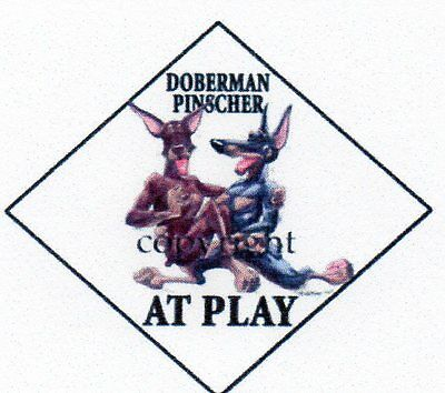 """Doberman """"At Play"""" 2 sign by Mike McCartney"""