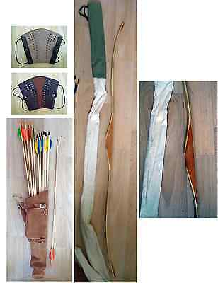 "FLATBOW 59"" overall length (28"" 32H ) 12 ARROWS, Leather Brace, Leather QUIVER"