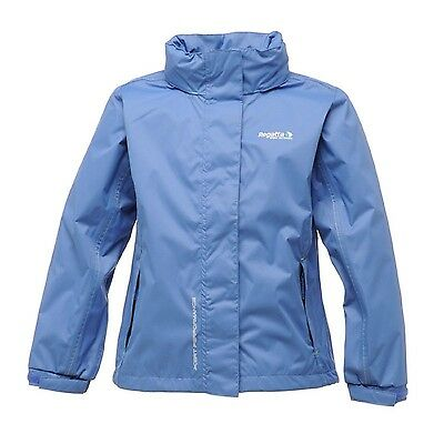 Regatta Jodi Girls Waterproof Breathable Rollaway Hood Lined Jacket Blue