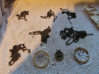 X6  German,cuckoo Clock Chains And X2 New Wall Clock. Twin Weight Gut Lines