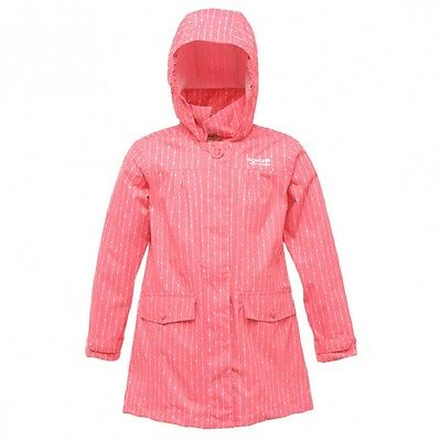 Regatta Rachael Girls Hooded Waterproof Windproof Lined Jacket Pink 15-16yrs
