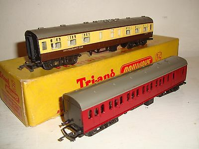 Tri-ang (Rovex) TT- BR(WR)Restaurant Car & BR Maroon Sub/brake/2nd good c1958/9