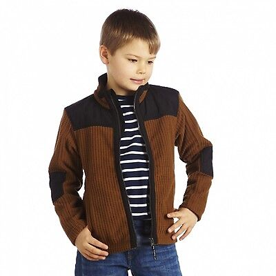 Regatta Faloo Boys Overlay Detail Grid Fabric Full Zip Fleece Jacket Brown