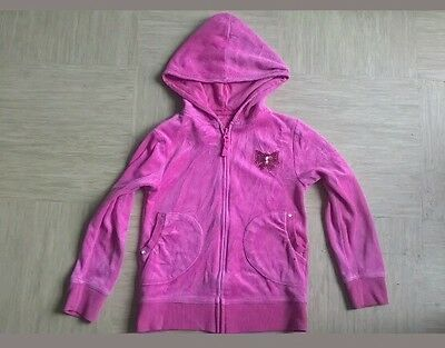 Girls pink hooded zip up hoodie with bow on chest age 8