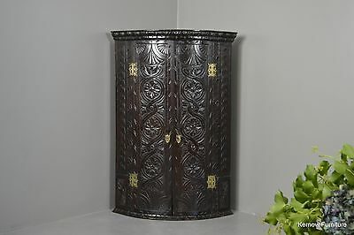 Antique Victorian Ebonised Carved Oak Wall Hanging Corner Cabinet