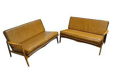 Mid Century Modern 2 Part Maple Knock Down Sofa Couch
