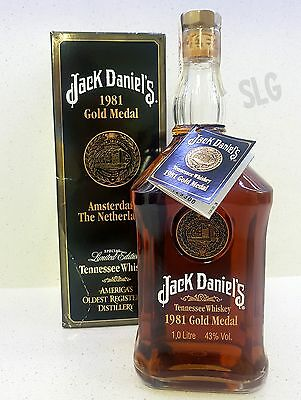Jack Daniels 1981 Gold Medal 1 Litre Tennessee Whiskey. Spanish Release 43%alc.