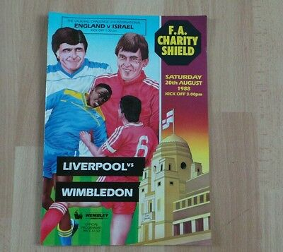 1988 Liverpool V Wimbledon Charity Shield Programme
