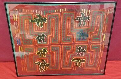 "8 Birds on Red Background, Vintage Mola Art, Panama, 16"" x 21"""