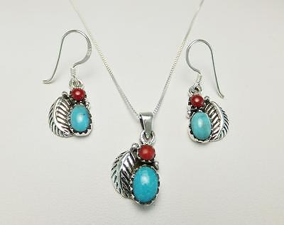 """Sterling Silver Western Turquoise Coral Earrings And 20"""" Necklace Set"""