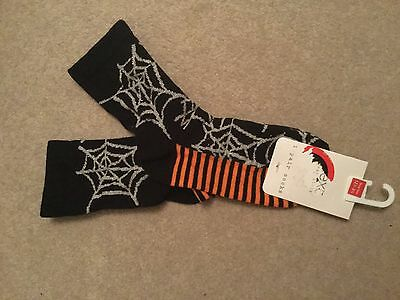 Next socks BNWT shoe size 12.5 - 3.5 sparkle spider webs perfect for Halloween!