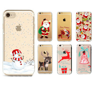 Christmas Festive Santa Reindeer Phone Case Cover For iPhone 5 S SE 6 7 Plus 8 X