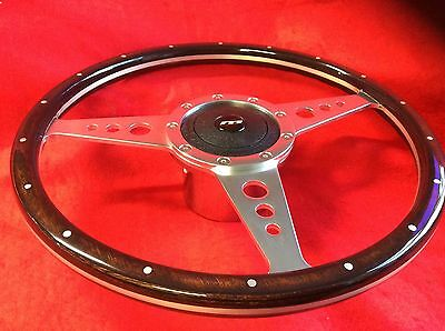 Triumph TR4 TR5 TR6  14 inch Wooden steering wheel chrome Mountney hub / bos kit