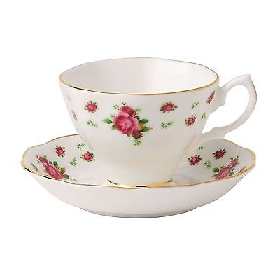 Royal Albert New Country Roses White Vintage Teacup and Saucer