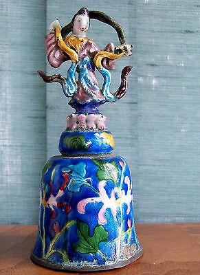 Antique cloisonné bell Female divinity of the Snake Goddess, Nu Gua.