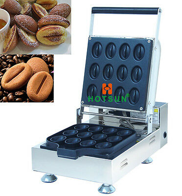 Commercial Non-stick Electric Coffee Bean Waffle Maker Iron Machine Baker