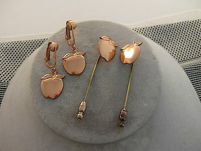 Estate Costume Solid Copper Apple 2 stick Pin and Clip Earring Set