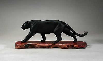 BLACK LEOPARD PANTHER FIGURINE Direct from JOHN PERRY 14in long Statue