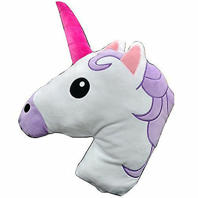 Unicorn Shaped Cushion Plush Filled Emoji Emoticon Pillow - Super Soft & Comfy!