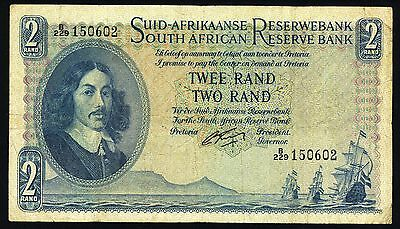 South Africa Rare Bank Notes : 2₤ Two Rand 1955 Old Paper Money Twee Pounds Bill