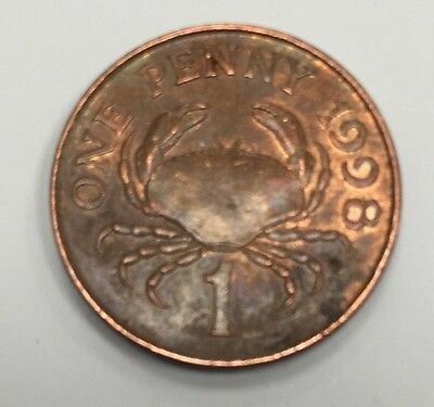 1998 Bailiwick Of Guernsey 1P One Pence Crab Circulated