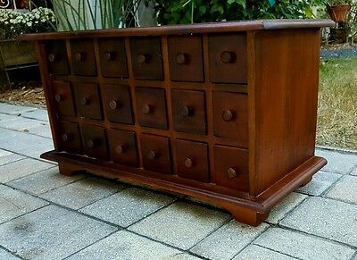 Vintage .primitive Style  Apothecary Hardware Spice 18 Drawer Wooden Cabinet