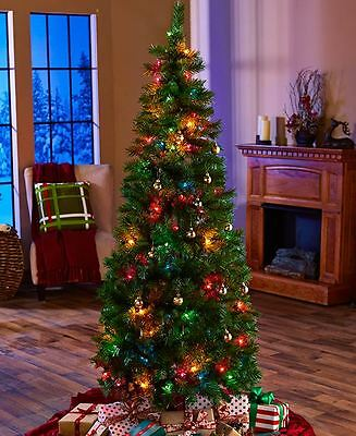 6 Foot 6' Pre Lit Pop Up Holiday Christmas Tree Multi Color Lights NEW