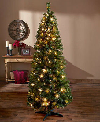 6 Foot 6' Pre Lit Pop Up Holiday Christmas Tree Clear Lights NEW