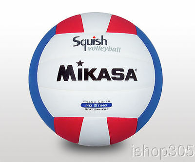 MIKASA VSV100 Squish Pillow Soft Indoor/Outdoor Volleyball White/Red/Blue Size 5