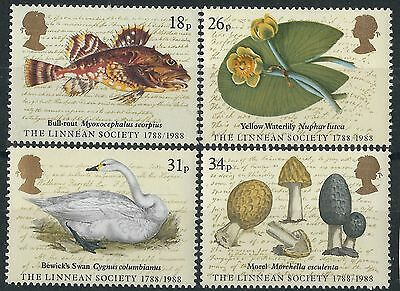 L122) Great Britain. 1988. Used. SG 1380 to 1383. Bi-cent.The  Linnean Society