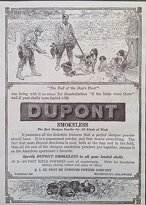 Antique 1907 Ad (Odl8)~Dupont Smokeless Shotgun Powder. Wilmington, Del.