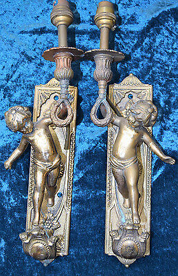 RARE Antique Pair of Solid Brass Cherub Sconces / Wall lights - New to Market