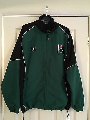 Gilbert England Rugby Green & Black Full Zip Shell Top Size Large