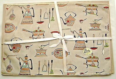 Set of 4 Timely Linens Vintage 1960's Table Placemats Kitchenware Prints