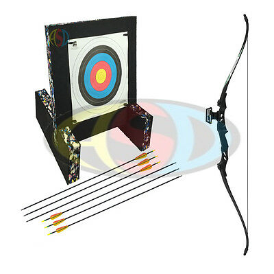 ASD Mens Blk & Blk Electrocution Take Down Recurve Archery Bow - Starter Package