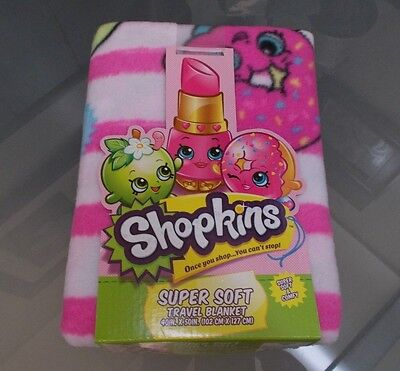 New With Tags Girls Shopkins Super Soft Throw Blanket