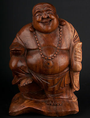 China 20. Jh. Holzfigur - A chinese carved wood Buddha / Budai - Chinois Cinese