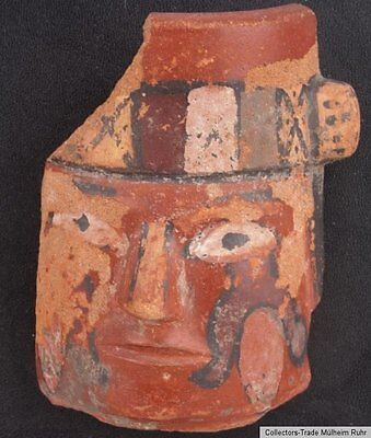 A Pre-Columbian Fragment of a Polychrome Hand Painted Portrait Vessel Cusco