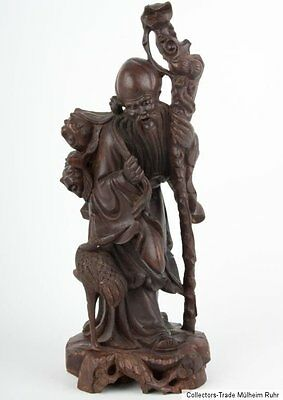 China 20. Jh. Chinese carved hardwood figure of Shouxing Scultura Cinese Chinois