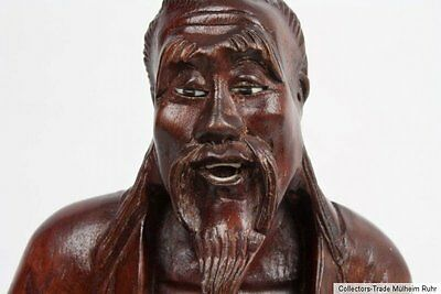 China 20. Jh Holzfigur A Chinese carved wood Figure Figura di legno cinese chine