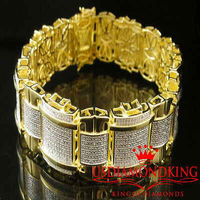 "Men's 1.5 Carat 100% Real Genuine Diamond 14K Yellow Gold Finish Bracelet 9"" New"